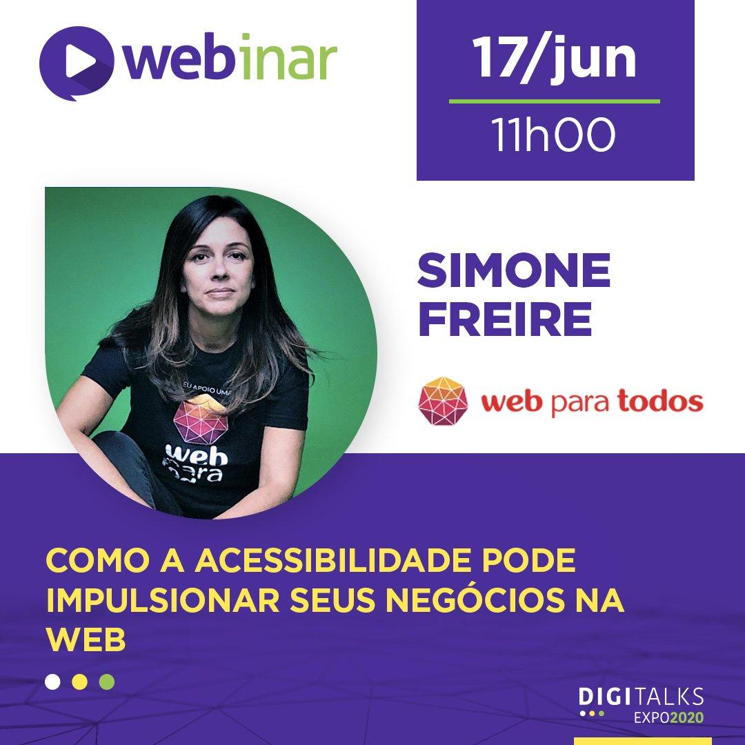 Simone Freire, idealizadora do Movimento Web para Todos, falará sobre como é que a Acessibilidade pode impulsionar os seus negócios na web. Inscrições em https://t.co/VN9RSq8cpi  #acessibilidade #digital #digitalks https://t.co/6BB0HERqJn