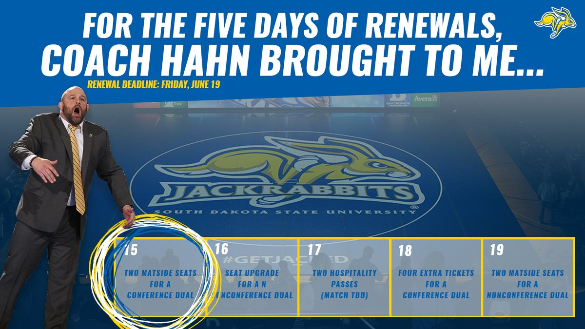 FIVE DAYS until the @GoJacksWrestle season ticket deadline, meaning FIVE DAYS of prizes!   PRIZE 1️⃣: Congratulations to Brad Schmidt!   🎟️ » https://t.co/t90fuxmwu4 https://t.co/uGEaoEtSUc
