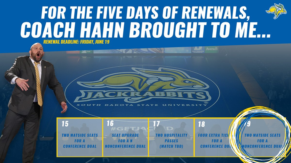 Last day to renew your @GoJacksWrestle season tickets!  PRIZE 5️⃣: Congratulations to Don Ray!   🎟️ » https://t.co/t90fux4VCw https://t.co/5KY07zMwFZ