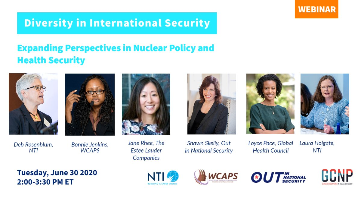 Join us with @NTI_WMD @wcapsnet & @OutInNatSec on 6/30 for a discussion of #diversity in intl. security! Our own @LauraSHHolgate will join a panel  focused on challenges & opportunities in #nuclear policy & global health security.   Register here: https://t.co/UerdSFEDZO https://t.co/6btqheR9V7