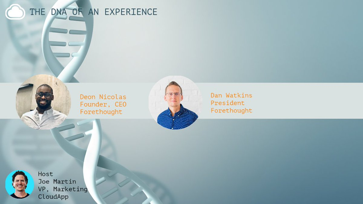 Tune into @joemartin's The DNA of an Exp to listen to @forethought_ai's co-founder & CEO, Deon Nicholas, & president, Dan Watkins, chat about the power of excellent AI in the everchanging landscape of customer experience.  Watch at 9 am PST, June 16 here: