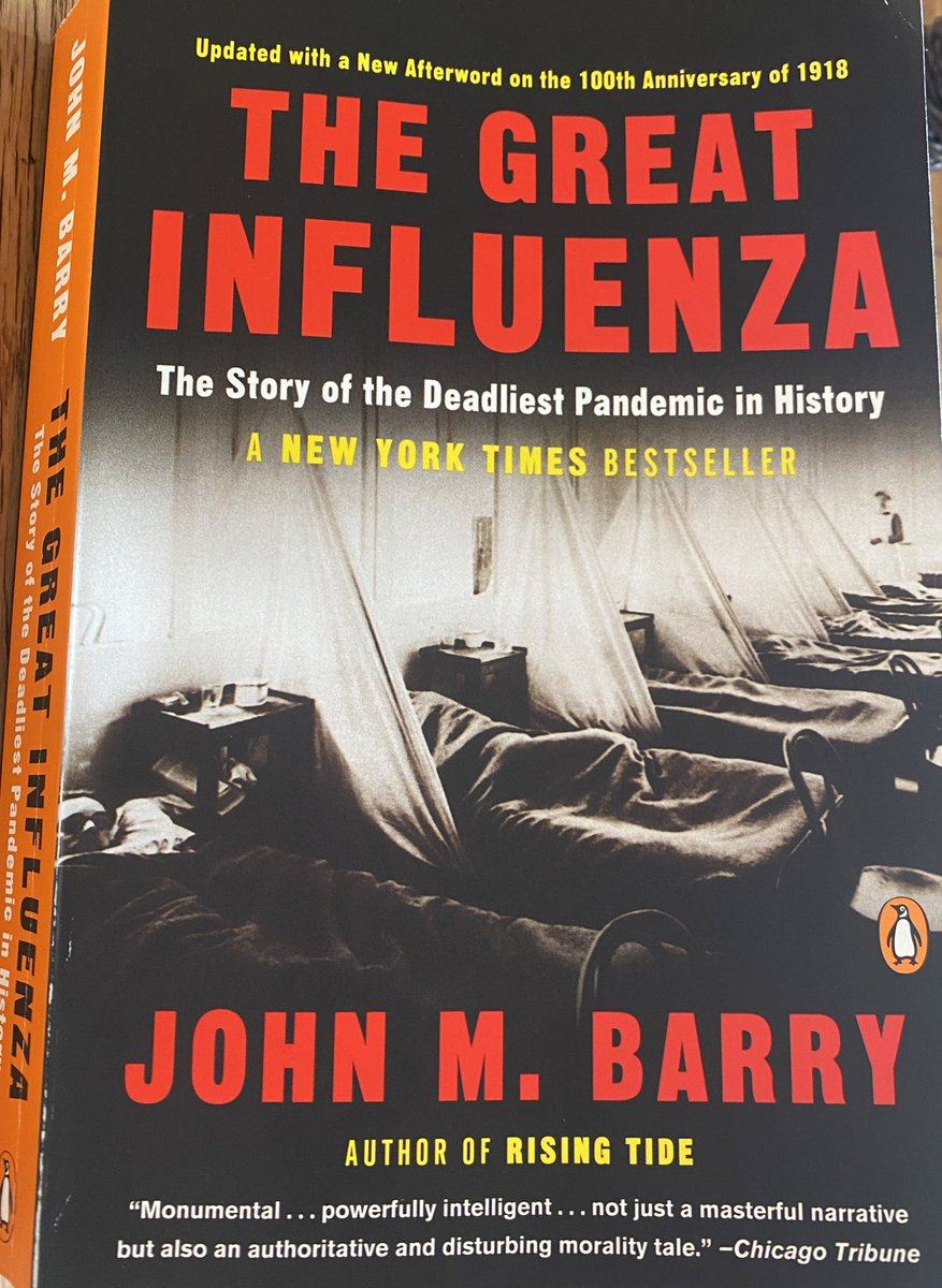 Weekend reading focused on THE GREAT INFLUENZA by @johnmbarry Needless to say, this is very timely reading.