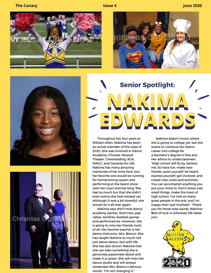 Check out this spotlight on senior Nakima Edwards!!! #canaries2020