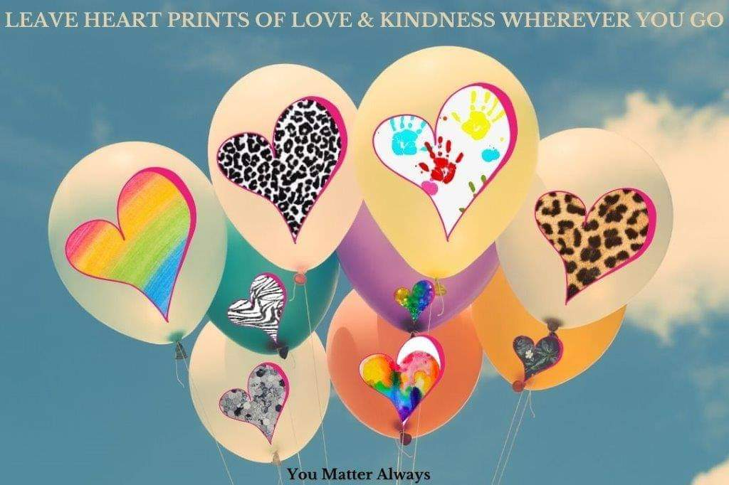 Leave HEARTPRINTS of LOVE and KINDNESS wherever you go 💜💜💜 #YouMatterAlways #kindnessisalwaysinseason #spreadalittlekindness #kindnessmatters #ifyoucanbeanythingbekind #betheonewhocares #takethetimetocare #beanicehumanbeing #heartprints https://t.co/tT2WZcKirI