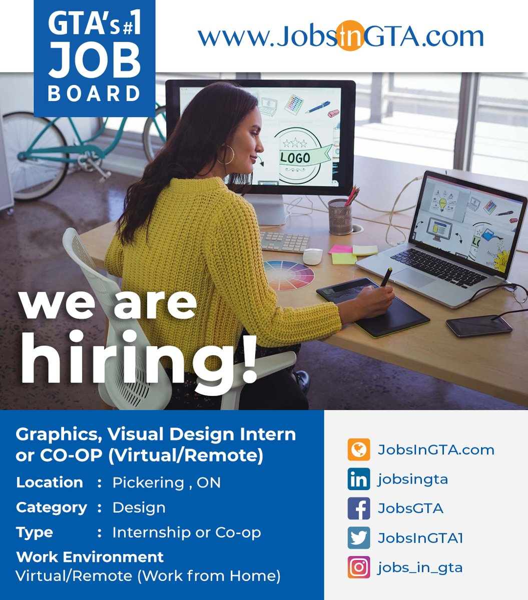 We're hiring ! We're looking for Graphics, Visual Design Intern or CO-OP (Virtual/Remote)  Apply: https://t.co/9WPiZkzEg3  #JobsInGTA #WorkFromHome #RemoteJobs #VirtualWork #DreamJob  #VisualDesign #DesignJobs #GraphicsJobs #TorontoJobs #StayHome #StaySafe #MondayMotivation https://t.co/PMdnpXTD6H