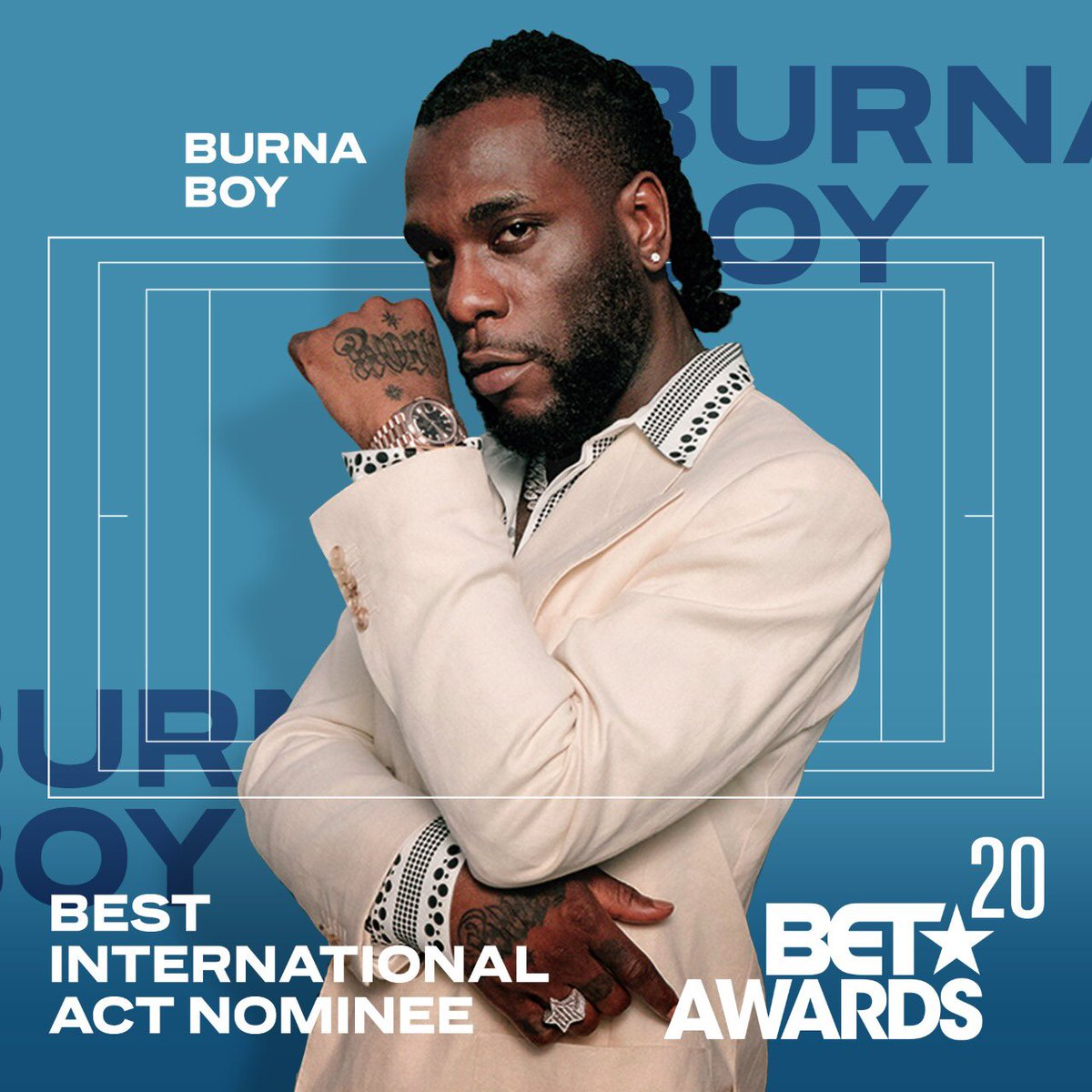 Africa stand up!!! @burnaboy has been nominated in the BET BEST INTERNATIONAL ACT category . 🔥🔥🔥Catch the BET Awards on the 29th of June at 02:00 CAT #BETAwards