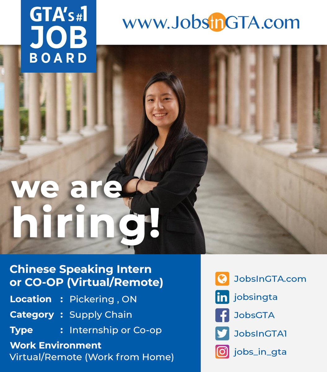 We're hiring ! We're looking for Chinese Speaking Intern or CO-OP (Virtual/Remote)  Apply: https://t.co/xmLSHhLx4T  #JobsInGTA #WorkFromHome #RemoteJobs #VirtualWork  #SupplyChain #Hiring #jobs #TorontoJobs #StayHome #StaySafe #MondayMotivation  #Ontario #GTA #Pickering #Canada https://t.co/8C6WjcEham