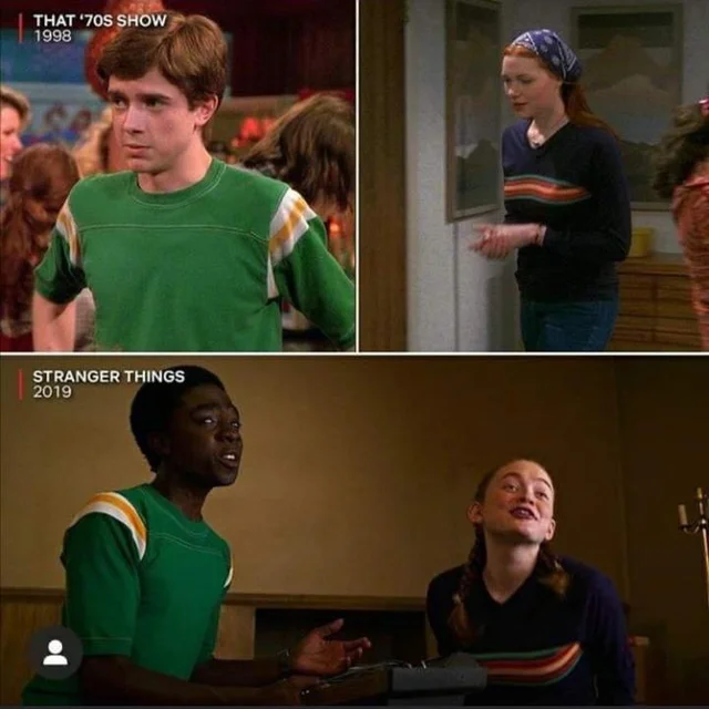 In 'Stranger Things 3', Lucas and Max wore the same outfits as Eric and Donna in 'That 70s Show'