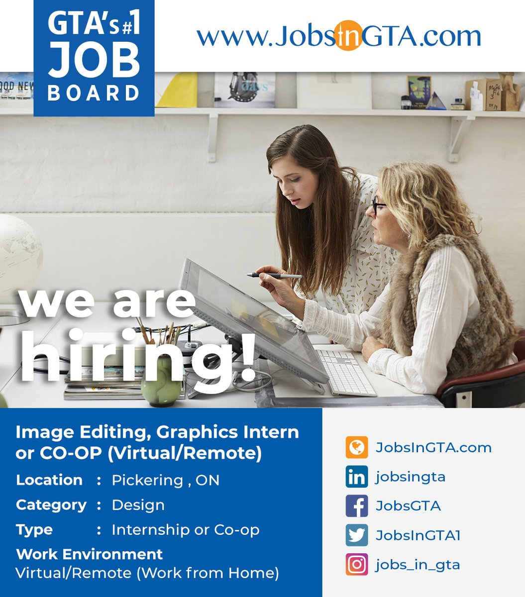 We're hiring ! We're looking for Image Editing, Graphics Intern or CO-OP (Virtual/Remote) Apply: https://t.co/xUt98lbNQW #JobsInGTA #WorkFromHome #RemoteJobs #VirtualWork #Internship  #editing  #GraphicsJobs #Hiring  #TorontoJobs #StayHome #StaySafe #MondayMotivation  #Pickering https://t.co/mGf4oZpFgq