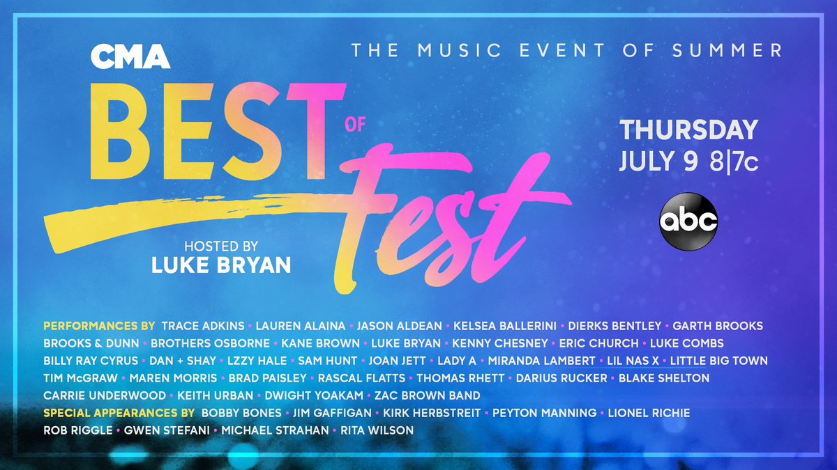 Hell right – look at that lineup! Y'all tune in to the BEST of #CMAfest Thursday, July 9 at 8|7c on ABC!!!! – Team BS