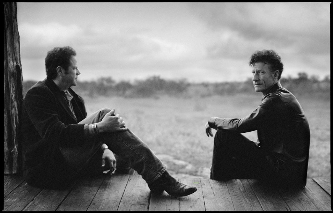 """This Friday, June 19th at 8pm CT- my good friend  @LyleLovett and I will be swapping songs live on YouTube, Facebook, and Twitter. Photo """"Lyle Lovett and Robert Earl Keen,"""" Dripping Springs, 2001© @annieleibovitz featured in her book """"American Music"""""""