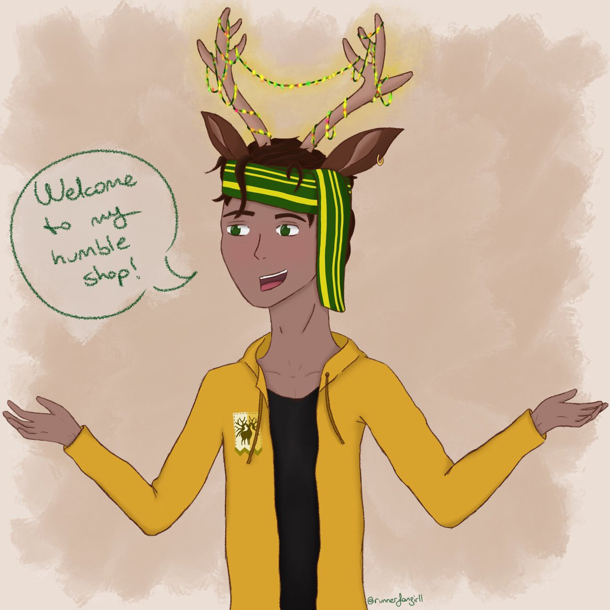 """Inspired by @MxTicketyBoo , @dustofwarfare and @faewrites 's amazing Dimiclaudelix fic """"Under Construction,"""" I offer you deerboy Claude! With LED lights hanging from his antlers!! Cause this image has been stuck in my mind since I read ch.5 and I had to draw it eventually lol"""