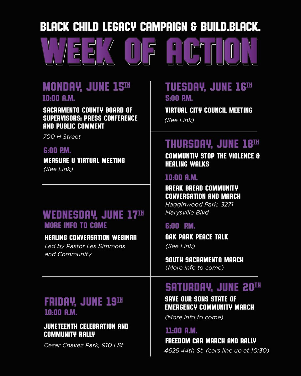 """Join the Black Child Legacy Campaign and Build Black this week in our Juneteenth """"Week of Action."""" Please refer to the flyer to see ways in which you can get involved in efforts to support your community. #StoptheViolence #InvestInCommunity #ReImagineJustice #BlackLivesMatter https://t.co/yATrM8g62s"""