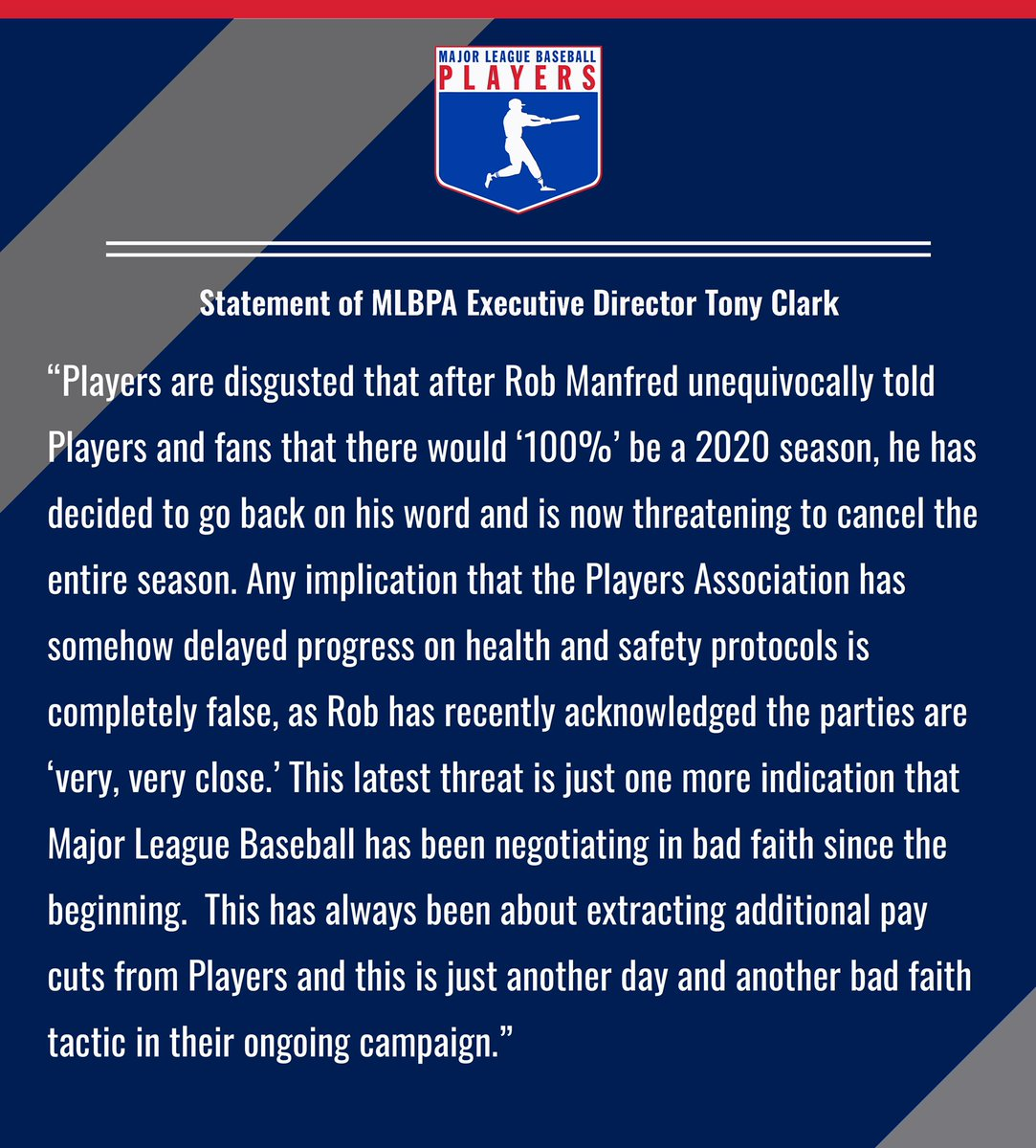 Major League Baseball Players Association Executive Director Tony Clark today released the following statement: