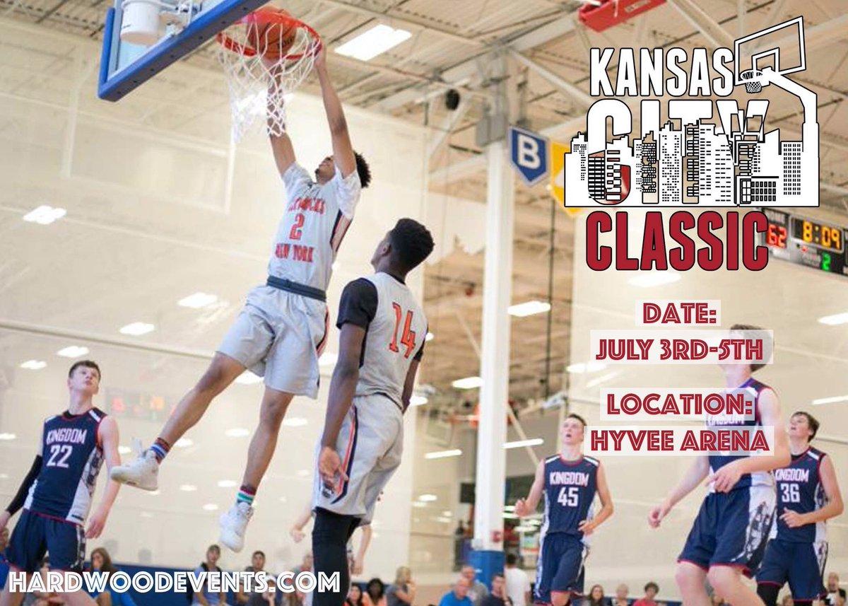 🚨: 2020 KC Classic 📆: July 3rd-5th 🏀: Boys 11u-17u 📍: @HyVeeArena 💻: hardwoodevents.com