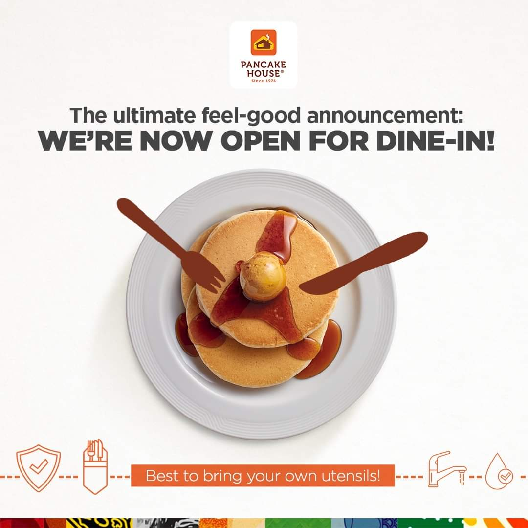 FEEL-GOOD ANNOUNCEMENT: Have a taste of your classic faves once again as we open select Pancake House branches for dine-in starting today!  Check out our full list of stores reopening for dine-in: https://t.co/juSyBPphAP https://t.co/Q3sK4iumst