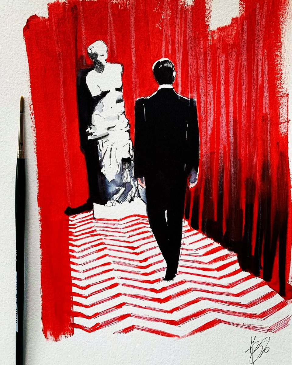 """""""I have no idea where this will lead us, but I have a definite feeling it will be a place both #wonderful and strange."""" #DaleCooper #Acrylic on paper,#available for sale #twinpeaks #davidlynch #firewalkwithme #laurapalmer #markfrost #twinpeaksthereturn #blacklodge #federicamasini"""
