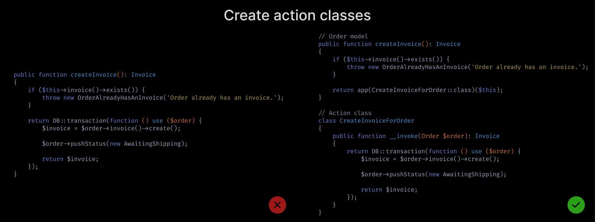 Create action classes