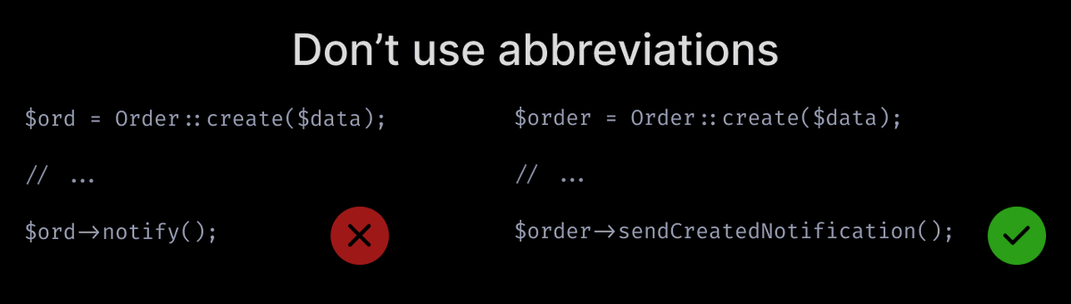 Don't use abbreviations