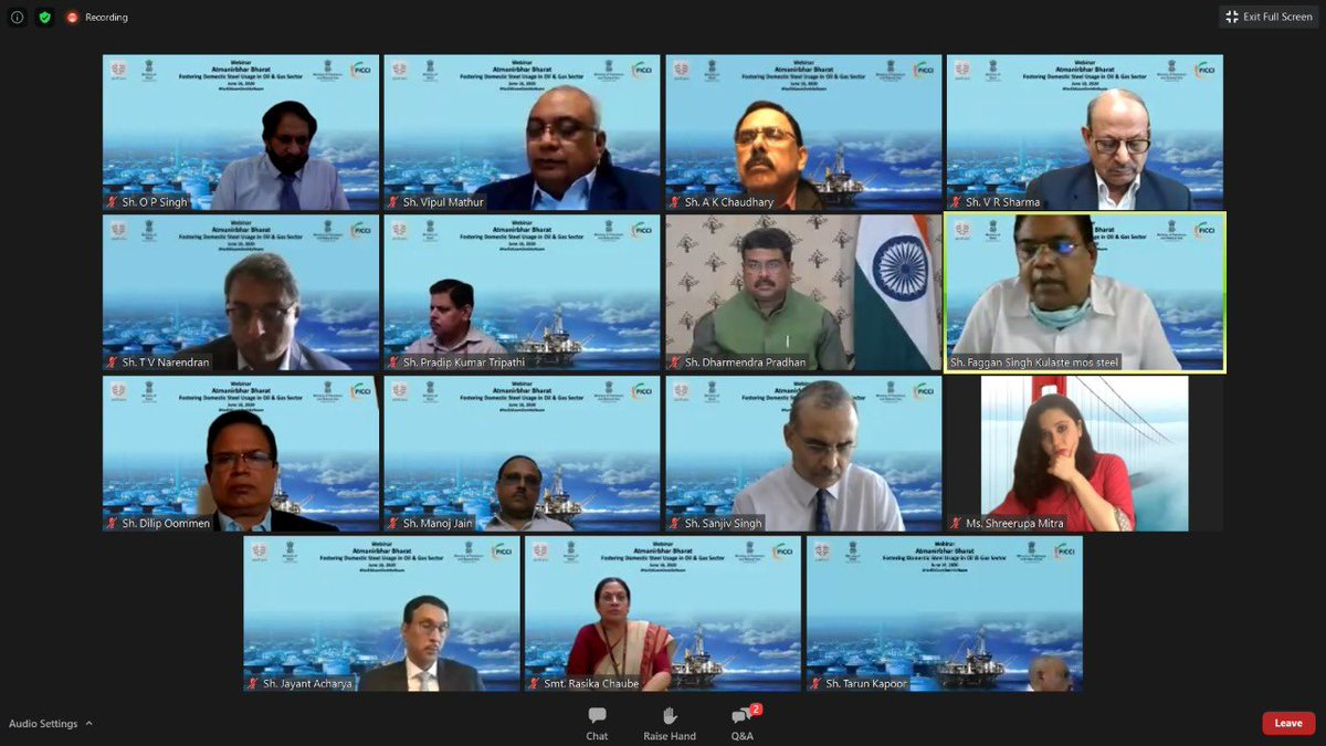 Shared my views on enhancing steel intensity in the oil and gas sector and creating a roadmap to become self-reliant in meeting the steel demand at the webinar-Aatmanirbhar Bharat: Fostering domestic steel usage in oil & gas sector, organised by @SteelMinIndia and @ficci_india. https://t.co/85VhpyNUBd