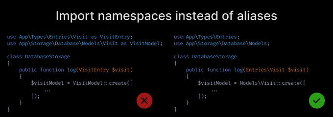 Import namespaces instead of using aliases