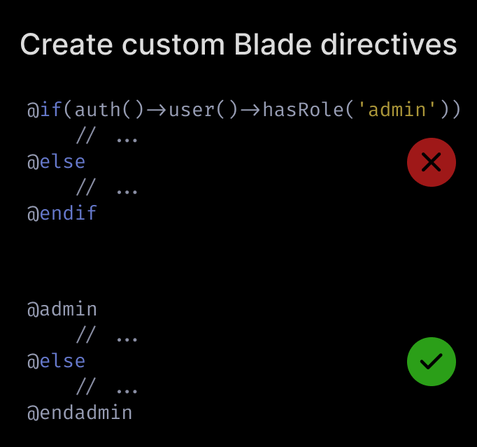 Create custom Blade directives for business logic