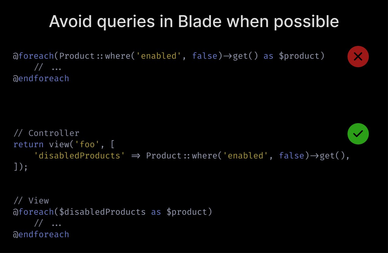 Avoid queries in Blade when possible