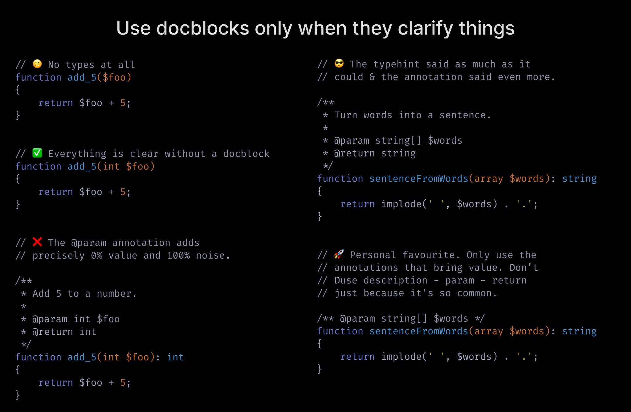 Use docblocks only when they clarify things