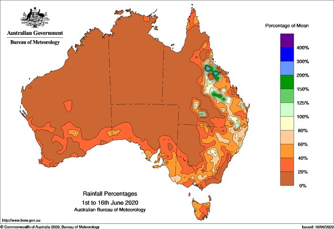 We're half way through #June, but unfortunately most of #Australia has received less than half the monthly average #rainfall so far.   Check what's forecast over the next week here ☔https://t.co/rZAJARjjvu https://t.co/BIeyT4nmnC