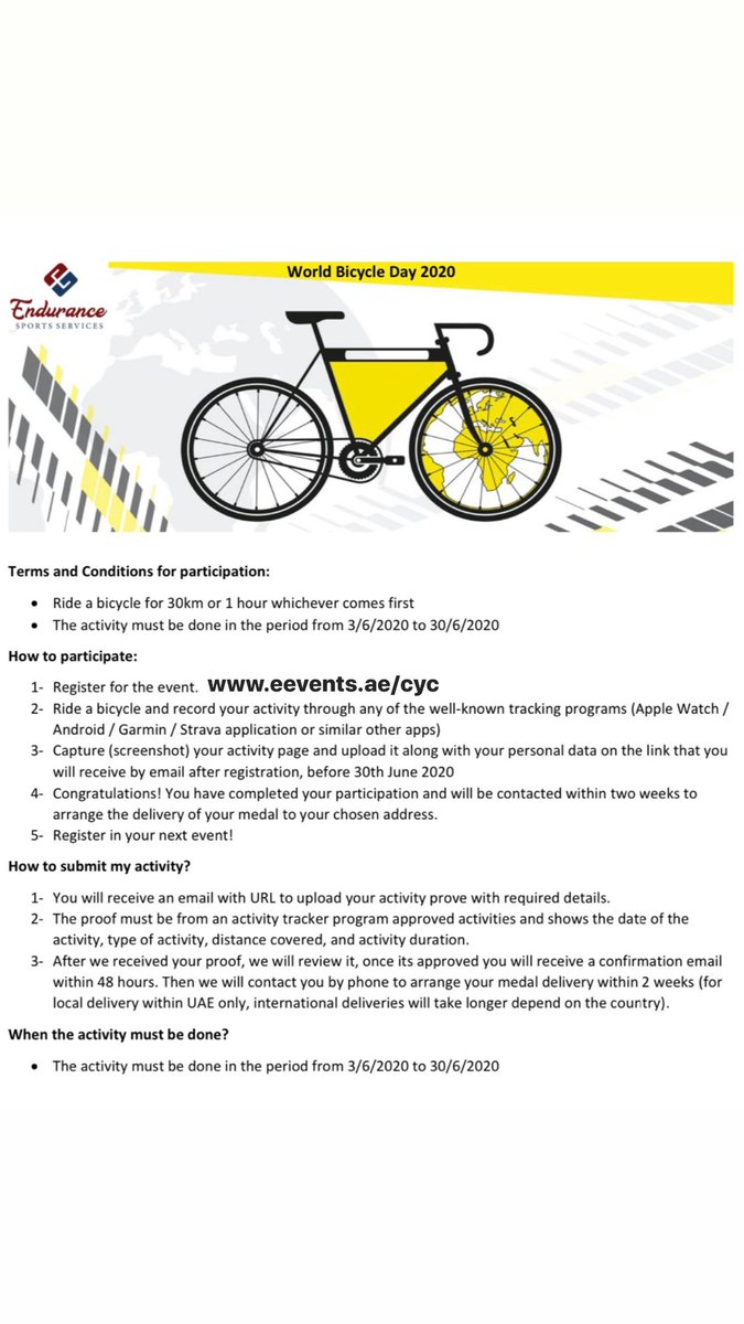 World Bicycle Day Join this #virtual #event  Registration   https://t.co/Q0vD6z4EPk  #bike #ride #worldbicycleday #world #bicycle #day #worldbicycleday2020 #cycling https://t.co/bDOdY48jnk
