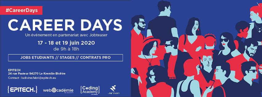"""Vous cherchez votre futur jeune talent pour rejoindre vos équipes ? Participez au prochain """"Career Days"""" virtuel by @EpitechParis les 17, 18 et 19 juin et rencontrez nos étudiants ! Inscription👉https://t.co/tDTcwRN8Zl #stages #alternance https://t.co/HgJ1SFHay1"""