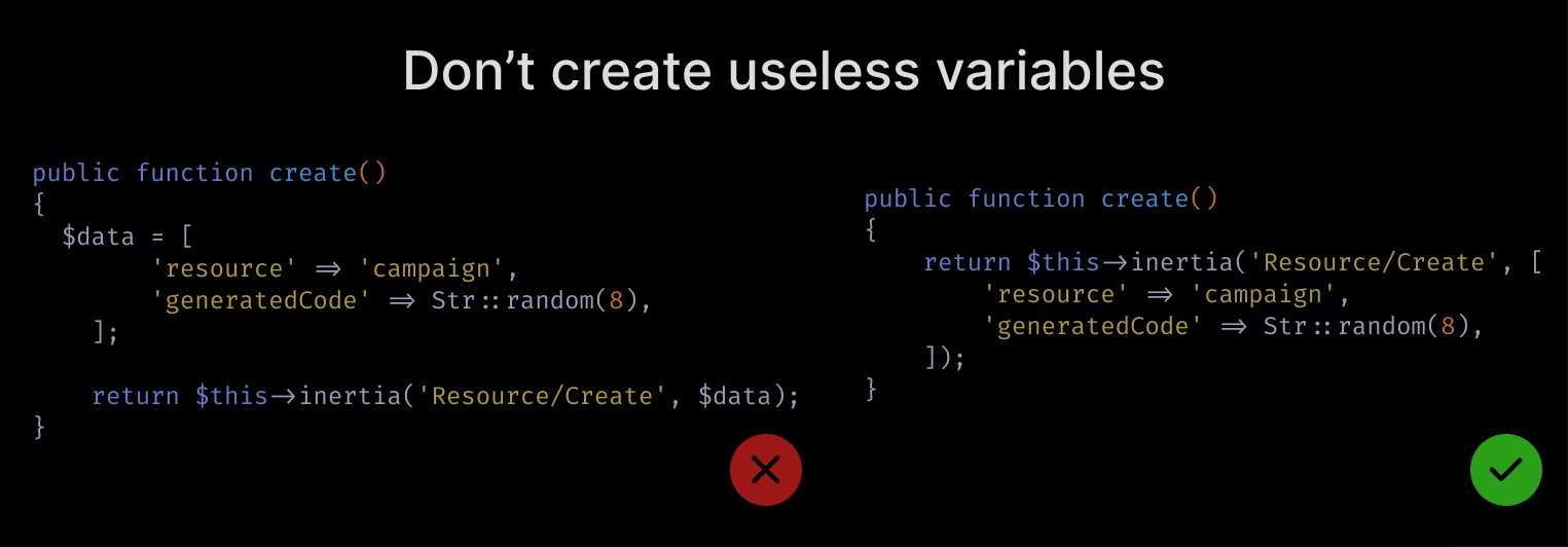 Don't create variables when you can just pass the value directly