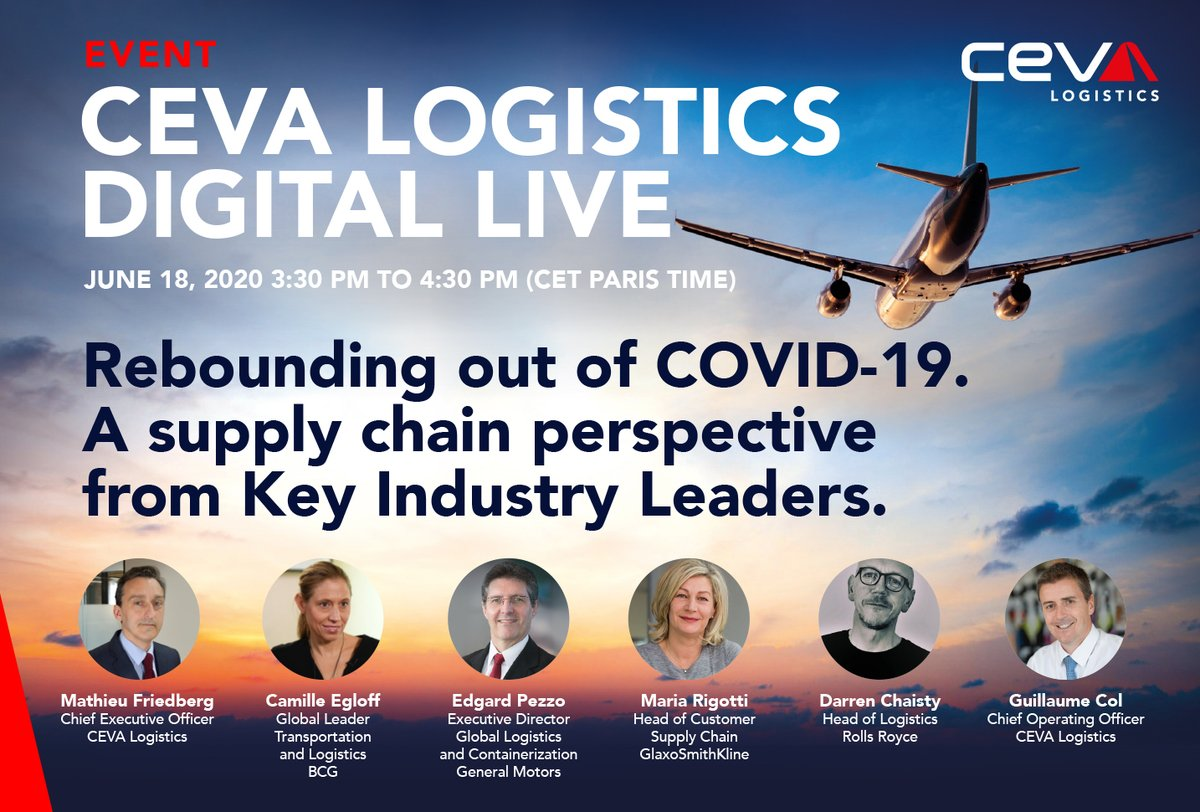 2 days left until #CEVADigitalLive webcast: Rebounding out of #COVID19. Join the discussion with #supplychain industry experts and our CEO Mathieu Friedberg.  📌Register now: https://t.co/GkSvubmLBC  #CEVALogistics #supplychainstrategy https://t.co/BhiNvPzPg5
