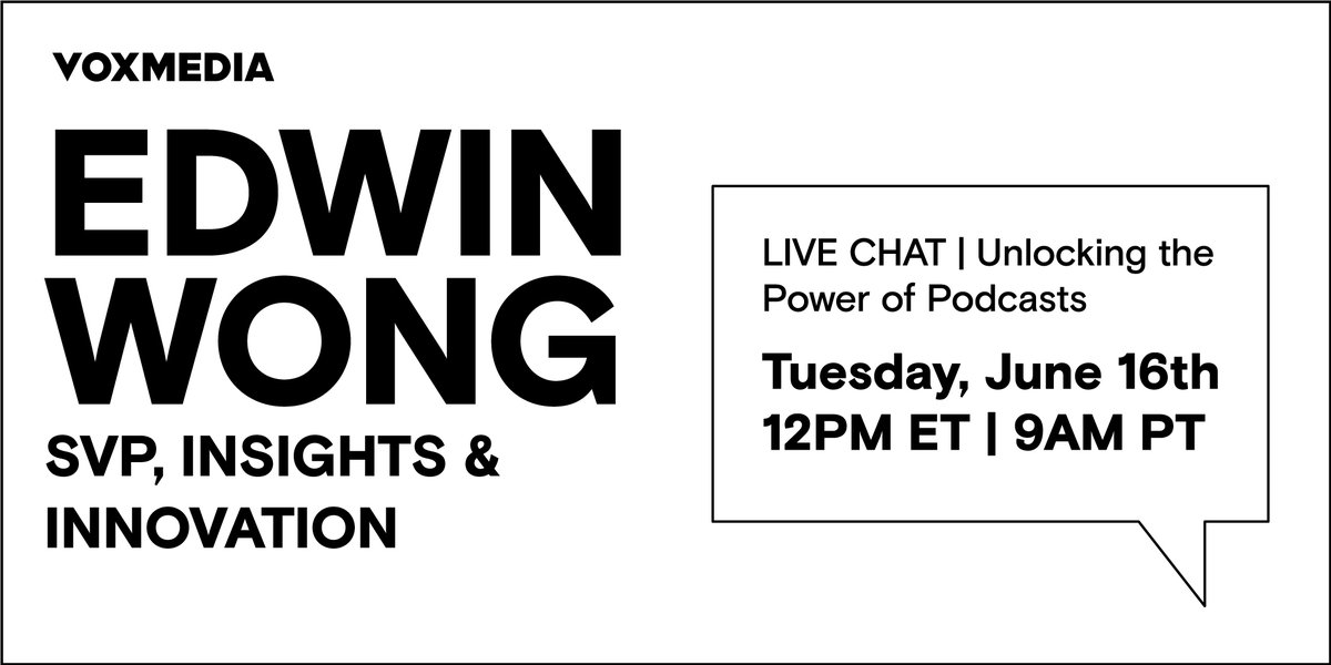 Today at noon EST, join Edwin Wong, our SVP of Insights & Innovation as he shares insights into the evolution of audiences' relationship with podcasts and how marketers can leverage the medium to build more powerful media strategies.   Register here: https://t.co/KDJRMGU00o https://t.co/LzCp2rwnm9