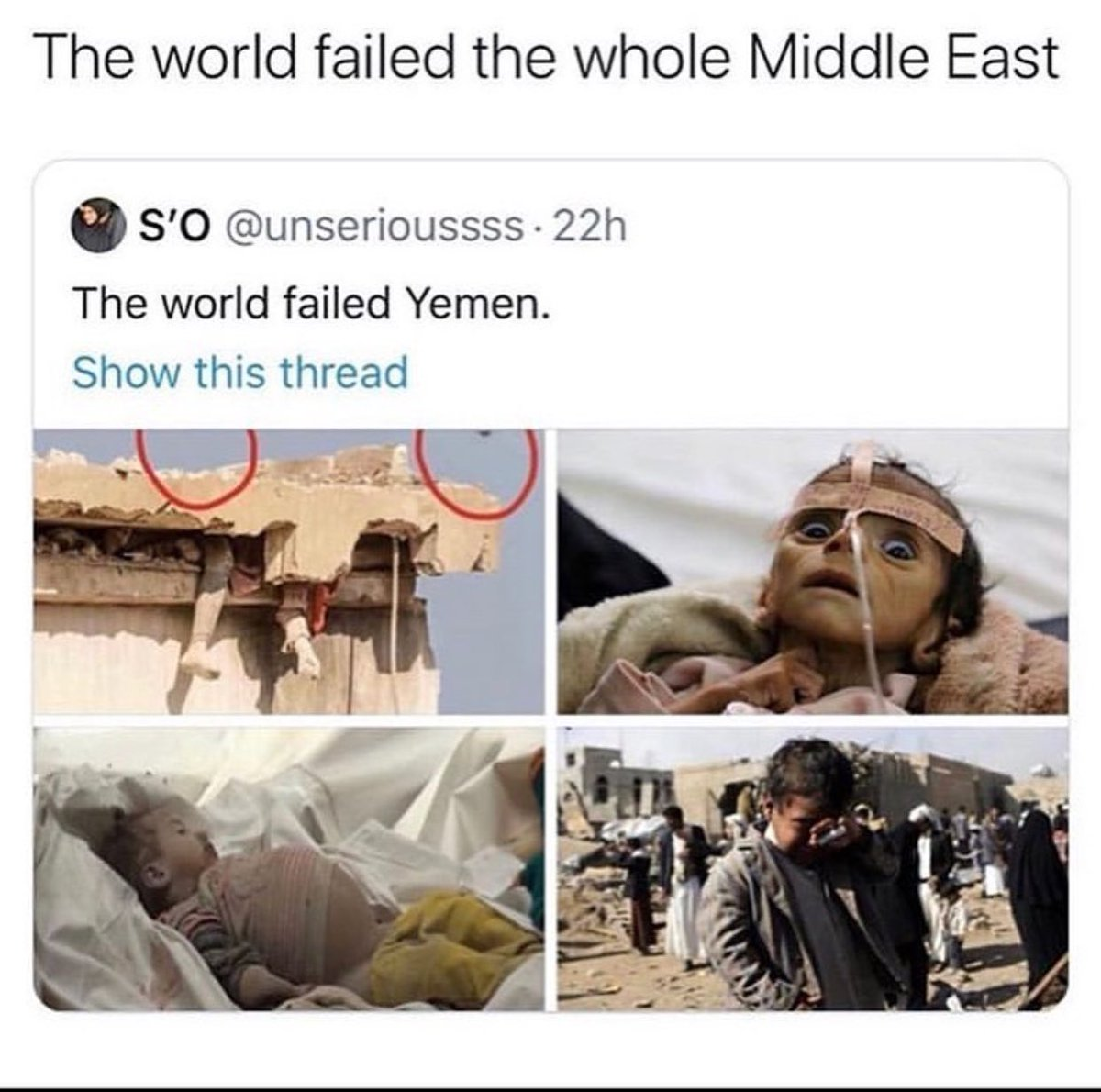 world war 3 is trending but can we please talk about the people in Yemen right now?? https://t.co/YPqZDha60Z