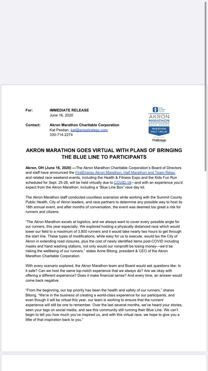 Akron Marathon switches to virtual race in late September due to pandemic. @WEWS #WEWS https://t.co/hrrseaQq9b