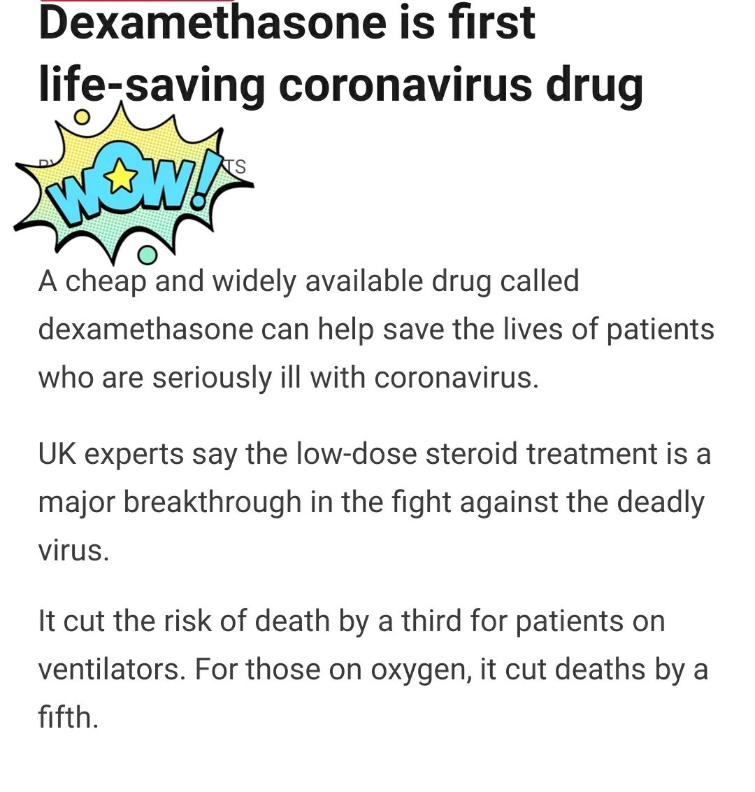 Major breakthrough, Dexamethasone is a major breakthrough in the fight against deadly corona virus even though it affects immune system ✌️ It cuts the risk of death 🙏 #dexamethasone #corona
