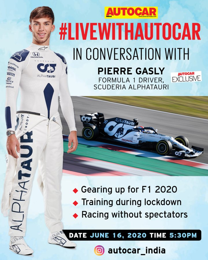 Just 1️⃣ hour to go! @AlphaTauriF1 driver @PierreGASLY will be joining us for an EXCLUSIVE chat on #LiveWithAutocar today at 5.30pm on https://t.co/I4AVi3nK6P  @redbullindia https://t.co/p1wk5Tg7di