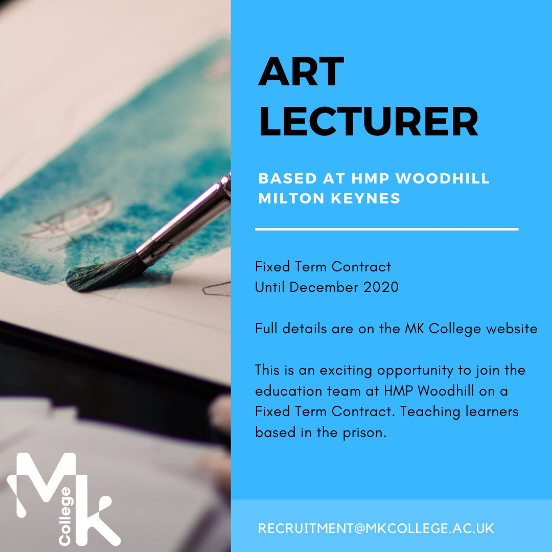We have a couple of #Lecturer vacancies in Art & Functional Skills with our lovely team @HMP_Woodhill. Find out more & apply here: https://t.co/SKcdOuvi0X #JoinMKCollege #TransformingLives https://t.co/hXv1LdOpc3