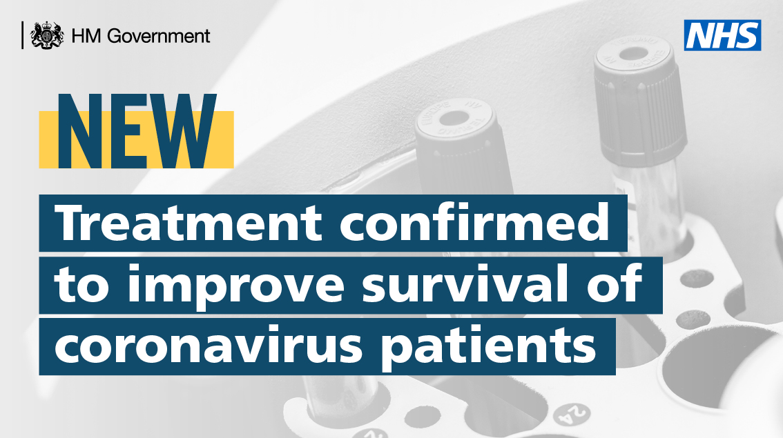 The first successful clinical trial in the world has found an effective treatment to improve survival of #coronavirus patients needing oxygen treatment. https://t.co/OK235v8Jci