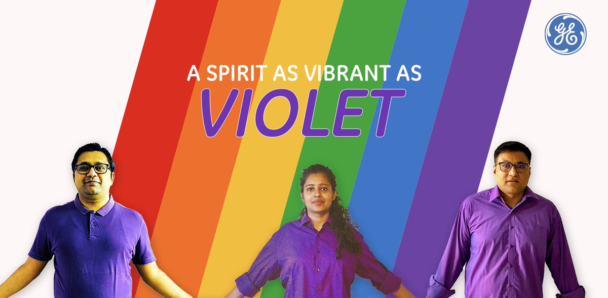 At #GE we celebrate Inclusion & Diversity with the vibrancy & spirit of the color Violet. 🌈 #Pride #PrideMonth #GEProud https://t.co/ngkJmRhxOD