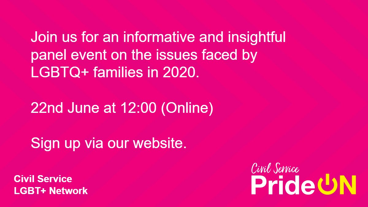 Join us for an informative and insightful panel event on the issues faced by LGBTQ+ families in 2020, on 22nd June at 12:00. We are keeping #PrideON for the Civil Service.   Sign up via our website: https://t.co/0hwYGNZSzb https://t.co/KCha5jLW4Z