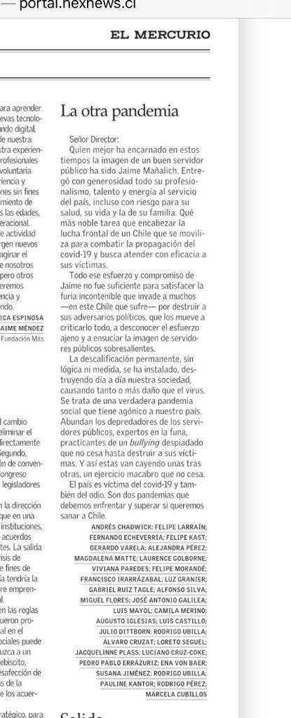 Adhiero íntegramente a lo que plantea esta carta, publicada hoy en El Mercurio. Me habría gustado tener la oportunidad de firmarla https://t.co/mZ64cXyQJj