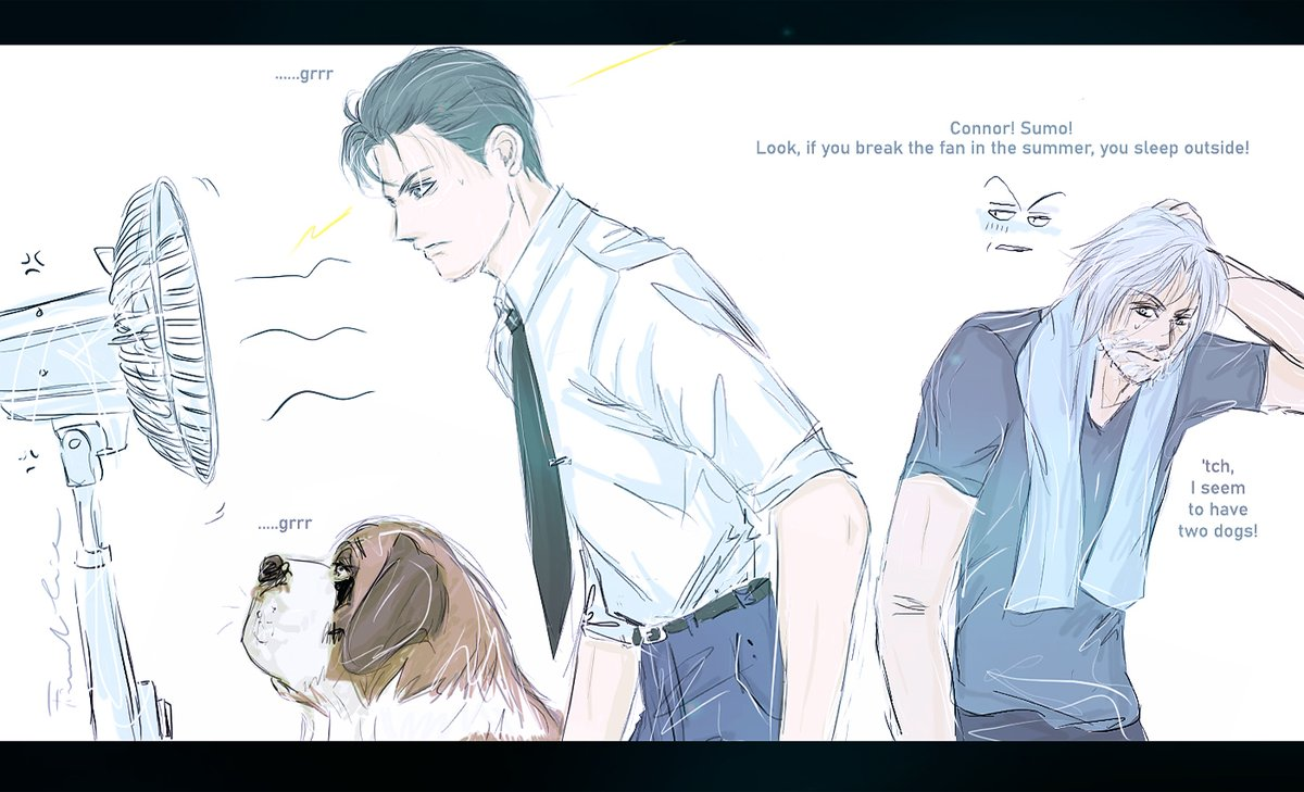 #DechartGames theme 16 #summer  Connor vs Fan hope you like it, it's ispired of my dogs! #Connor #rk800 #hank #anderson #connorarmy #bryandechart #ameliaroseblaire pic.twitter.com/gDewAMTt1p