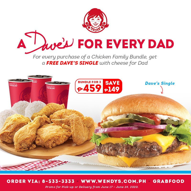 Thank dad with a Dave's on us! Prep a feast for Father's Day with the new Chicken Family Bundle and we'll throw in a Dave's Single with cheese for free especially for your dad!  Promo is valid from June 17 - 24, 2020. https://t.co/31gk4M3AWs