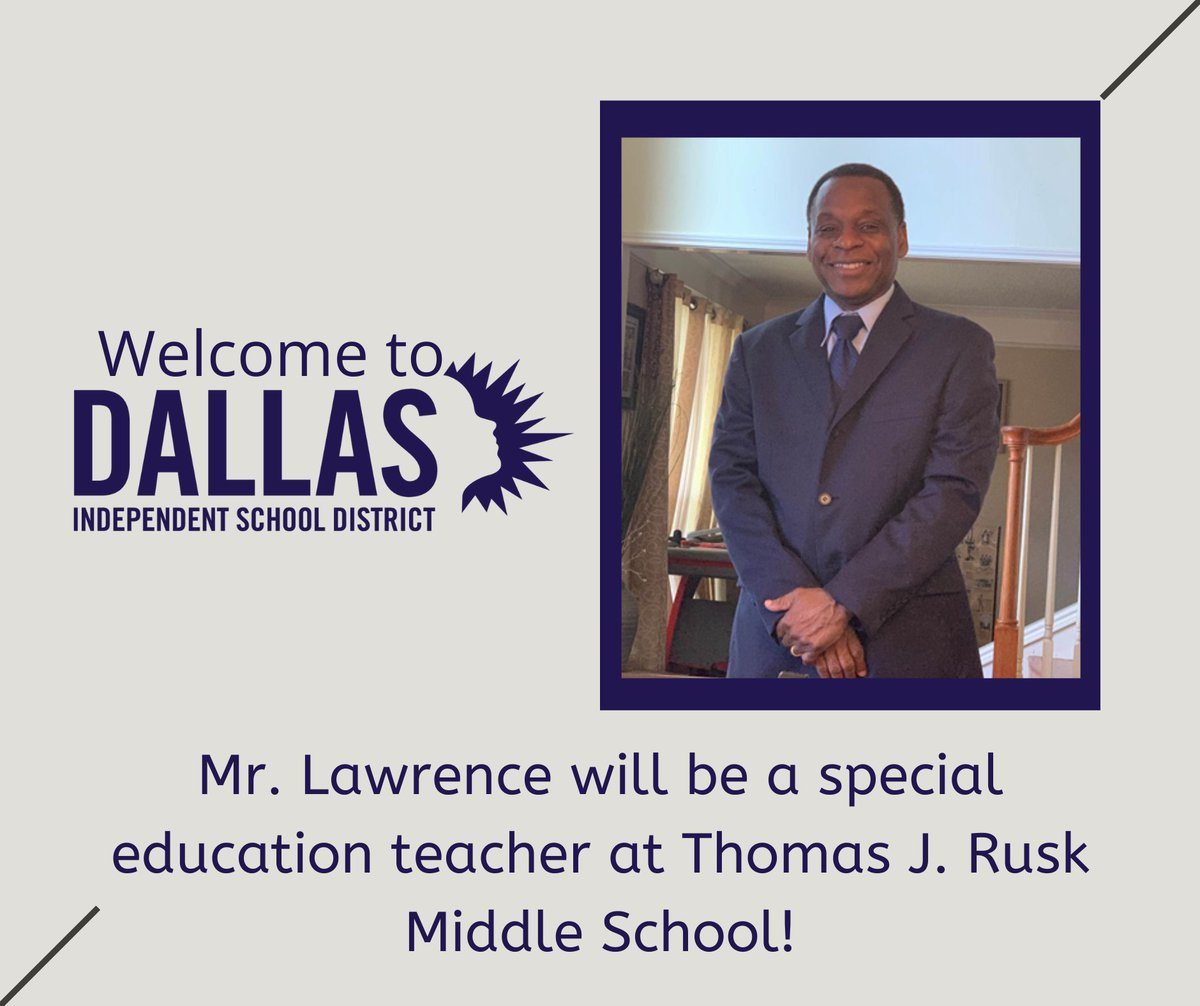 On behalf of all of us, welcome to DallasISD Mr. Lawrence! #DallasISD #NewHire #SpecialEducation