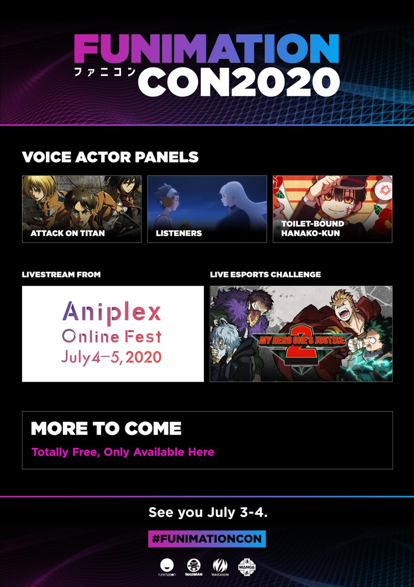 Did someone say…Attack on Titan panel? 👀💦  P.S. Don't forget to register for the con—it's free, but you need a code to stream it. Register: https://t.co/Ga5mBUGqxH #funimationcon https://t.co/gmH03REr38