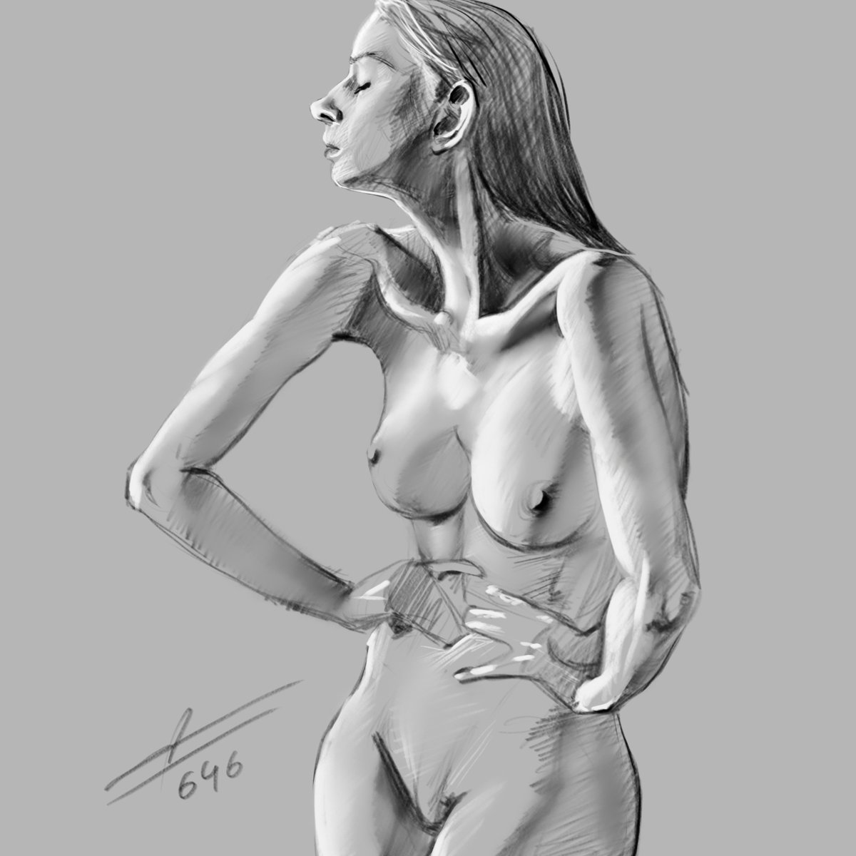 Draw a classy nude portrait for you by adam