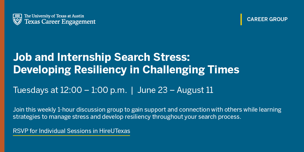 This summer, we're offering weekly career groups that are open to all students, including our Tuesday Career Group focused on managing stress during the job and internship search.   RSVP for individual sessions in #HireUTexas - https://t.co/b3VJrafm4d https://t.co/VSTcW0vVrE
