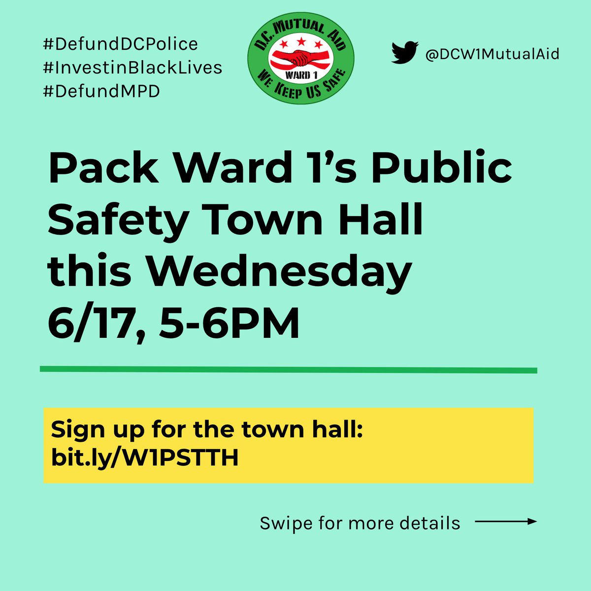 If you're in Ward 1 and want to #DefundDCPolice, register and pack this Public Safety Town Hall!!  💥TOMORROW FROM 5-6 PM💥 https://t.co/8RsyIqlqll  Tell @BrianneKNadeau that her constituents demand DC Council: - Divest from MPD - Invest in our Community - Drop the Charges https://t.co/hHvf1bxaM5